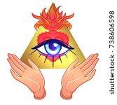 human hands open around masonic ...   Shutterstock .eps vector #738606598