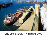 wheat terminal  a ship being... | Shutterstock . vector #738609070