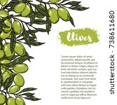olives. flyer template with... | Shutterstock .eps vector #738611680