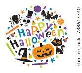 a vector illustration of fun... | Shutterstock .eps vector #738617740