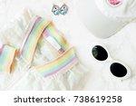 fashion accessories on white...   Shutterstock . vector #738619258