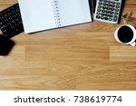 business desk composition....   Shutterstock . vector #738619774