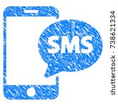 grunge send phone sms icon with ... | Shutterstock .eps vector #738621334