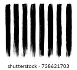 set of black paint  ink brush ... | Shutterstock .eps vector #738621703