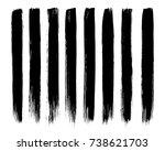 set of black paint  ink brush ...   Shutterstock .eps vector #738621703
