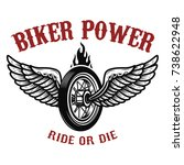 biker power. wheel with wings.... | Shutterstock . vector #738622948