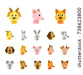 flat colored style animal faces ... | Shutterstock .eps vector #738623800