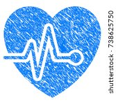 grunge cardio pulse icon with... | Shutterstock .eps vector #738625750