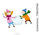 illustration of kids are... | Shutterstock .eps vector #738629968
