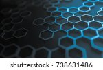 set of metal hexagons on dark... | Shutterstock . vector #738631486