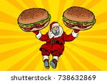 Santa Claus With Two Burgers ...