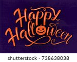 happy halloween orange... | Shutterstock .eps vector #738638038