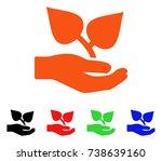 flora care hand icon. vector...   Shutterstock .eps vector #738639160