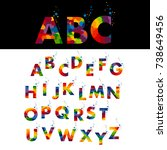 stylized colorful font and... | Shutterstock . vector #738649456