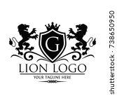 black lion logo template used...   Shutterstock .eps vector #738650950