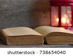 bible and christmas lantern...   Shutterstock . vector #738654040