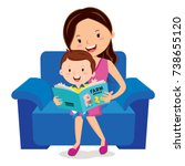 mother and child reading book | Shutterstock .eps vector #738655120