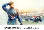 kart crossing the finish line... | Shutterstock . vector #738662113