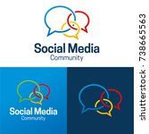 social media and community icon ... | Shutterstock .eps vector #738665563