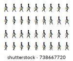 shopping girl walk cycle... | Shutterstock .eps vector #738667720