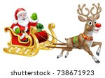 christmas santa claus and his... | Shutterstock .eps vector #738671923