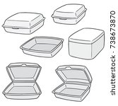 vector set of foam container | Shutterstock .eps vector #738673870