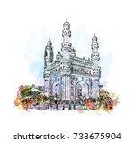 watercolor sketch with splash... | Shutterstock .eps vector #738675904