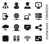 16 vector icon set   share ... | Shutterstock .eps vector #738680254