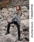 model in gray jacket  lookbook | Shutterstock . vector #738680908