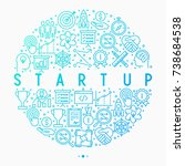 start up concept in circle with ... | Shutterstock .eps vector #738684538