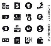 16 vector icon set   coin stack ... | Shutterstock .eps vector #738685243
