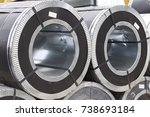 rolls of cold rolled galvanized ... | Shutterstock . vector #738693184