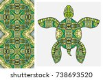 decorative doodle turtle with... | Shutterstock .eps vector #738693520