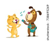Stock vector colorful friendship day illustration card with funny cat and dog playing guitar card sticker 738695269