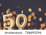 gold number 50 celebration... | Shutterstock . vector #738695296