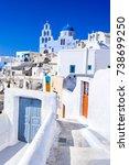 pyrgos  santorini  greece....   Shutterstock . vector #738699250