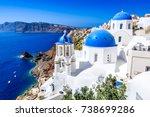 oia  santorini  greece. famous... | Shutterstock . vector #738699286