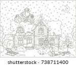 santa claus with christmas... | Shutterstock .eps vector #738711400