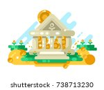 bank abstract building with... | Shutterstock .eps vector #738713230