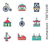 colored circus icons set. flat... | Shutterstock . vector #738716140