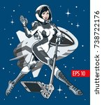 young attractive astronaut... | Shutterstock .eps vector #738722176