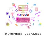 services word with pc computer... | Shutterstock .eps vector #738722818