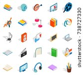tutorial icons set. isometric... | Shutterstock . vector #738727330