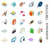 tutorial icons set. isometric... | Shutterstock . vector #738727330
