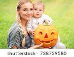 closeup portrait of a beautiful ... | Shutterstock . vector #738729580