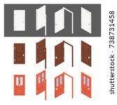 isometric collection of doors.... | Shutterstock .eps vector #738731458