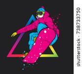 a snowboarder in colorful... | Shutterstock .eps vector #738733750