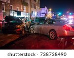 multiple car crash night city... | Shutterstock . vector #738738490