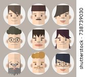 set of character creation... | Shutterstock .eps vector #738739030