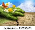 illustration of green grass... | Shutterstock . vector #738739663